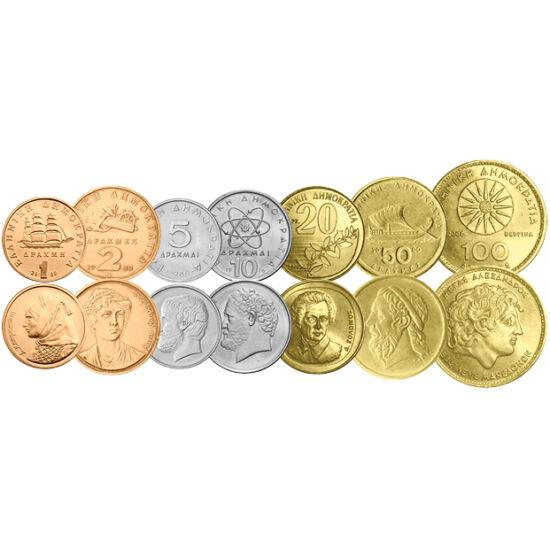 // 1, 2, 5, 10, 20, 50, 100 drahme, Grecia, 2000 // - Nu este exclus ca Grecia să iasă din zona euro. Ca stat extern, îşi poate păstra euro ca mijloc de plată, dar euro nou grecesc nu va exista, sau se întoarce la valuta lui naţională. Ultimul set monetar