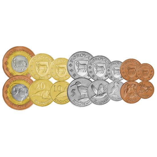 // 25, 50 öre, 1, 2, 5, 10, 20, 50 coroane, Insulele Feroe, 2011 // - Insulele Feroe aparţine de Regatul Danemarcei. Semnificaţia numelui insulei este Insulele Oilor. Deşi dispune de o largă autonomie, nu are un instrument propriu de plată. Setul de monet