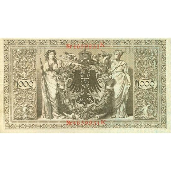 // 1000 mărci, Germania, 1910 // - În 1871, Imperiul German a creat noua valută, marca imperială, care avea acoperire în aur. Iniţialele valorii nominale au o grafică splendidă şi bogată, dar şi reversul cu stema decorată cu coroana Sfântului Imperiu Roma