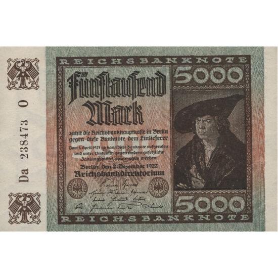 // 5000 mărci, Republica de la Weimar, 1922 // - Republica din Weimar a fost distrusă de criza mondială şi de hiperinflaţie. Capitaliştii speriaţi de vântul comunismului au văzut calea de ieşireîn naţional-socialism. Din cauza hiperinflaţiei, această ban