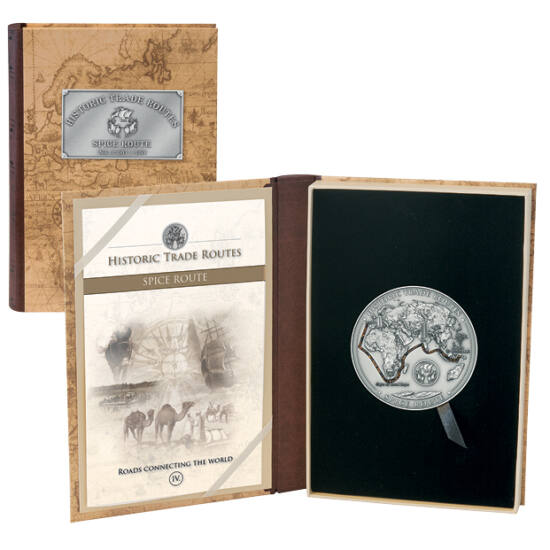 // 5000 franci, argint de 999/1000, Camerun, 2019 // - Condimentele au fost întotdeauna de valoare, piperul negru din India fiind utilizat ca monedă! Descoperirea Americii, ocolirea Africii, au fost motivate de găsirea căilor noi spre India. Pe moneda din