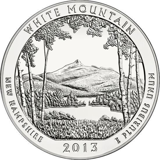 // 25 cenţi, argint de 999/1000, SUA, 2013 // - Munţii Albi din New Hampshire au fostexpuşi defrişărilor şi mineritului. În 1918, preşedintele Wilson a înfiinţat aici Parcul Naţional al Munţilor Albi, parcul devenind o afacere anuală de 9 miliarde! Pe ac
