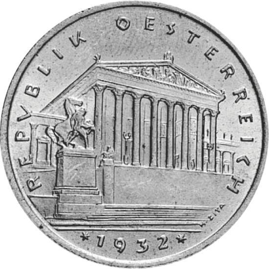 // 1 şiling, argint de 640/1000, Austria, 1925-1932 // - În anul 1920, după destrămarea Imperiului Austro-Ungar, Austria devine republică. Crearea unei noi unităţi monetare devenea o necesitate, iar în anul 1924 s-au şi emis primii şilingi de argint. Acea