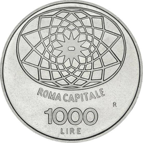 // 1000 lire, argint de 835/1000, Italia, 1970 // - Italia a devenit stat unitar după anexarea statului Vatican, în 1870. De centenar a apărut această monedă din argint, având pe avers figura Concordiei, zeiţa armoniei, iar pe revers motivele pavajului Pi