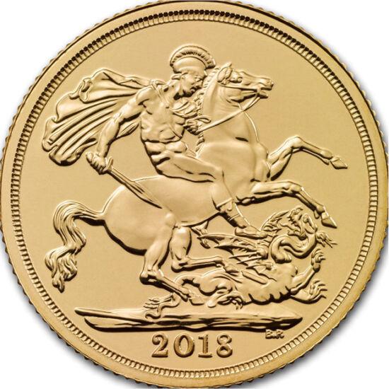 // 1/4 sovereign, aur de 917/1000, Marea Britanie, 2018 // - Sovereign este coroana monetăriei engleze. Cu prilejul celor 66 ani de la încoronarea reginei Elisabeta a II-a, anul acesta se va emite moneda sovereign, cu o nouă valoare nominală. Această mone