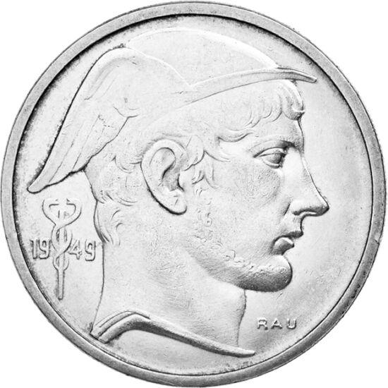 // 20 franci, argint de 835/1000, Belgia, 1949-1955 // - Regele Leopold al III-lea al Belgiei nu a avut o atitudine promptă faţă de agresorii germani, astfel devenind  nepopular, ceea ce a dus la un referendum privind monarhia. La acea vreme, în loc de re