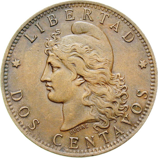 // 2 centavo, Argentina, 1882-1896 // - Argentina şi-a căpătat independenţa faţă de Spania în 1816, însă libertatea financiară şi sistemul monetar propriu le-a avut abia în 1881. Pe primele monede în circulaţie, apărea figura lui Marianne cu bonetă, împru