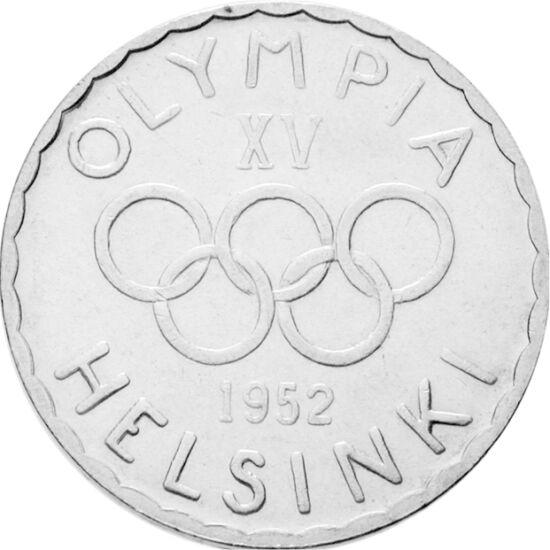 // 500 mărci, argint de 500/1000, Finlanda, 1952 // - Pare surprinzător, prima monedă în istoria Jocurilor Olimpice din era modernă a apărut abia cu ocazia JO de la Helsinki, adică la a 15-lea olimpiadă. Aceasta a fost decorată cu cele 5 cercuri olimpice,