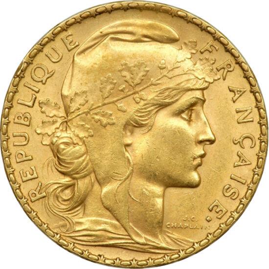 // 20 franci, aur de 900/1000, Franţa, 1901-1914 // - Franţa este mândră de principiul său: Libertate - Egalitate - Fraternitate. Triplul principiu apare inclusiv pe monedele sale, ca şi pe această monedă din aur de 20 de franci realizată în A Treia Repub