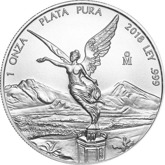 // libertad, argint de 999/1000, Mexic, 2018 // - În Mexic s-a emis şi s-a introdus în circulaţie moneda de argint fără valoare nominală, Libertad, purtând numele Îngerului Independenţei, simbolul naţional al ţării. Aceasta este singura monedă de investiţ