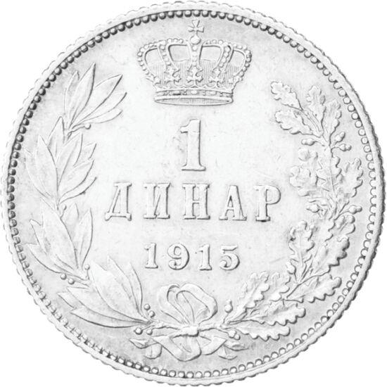 // 1 dinar, argint de 835/1000, Regatul Serbiei, 1904-1915 // - La 1 decembrie 1918, Regatul Sârbesc s-a transformat în Regatul Sârbo-Croato-Sloven. Atunci s-a desfiinţat Serbia independentă şi, odată cu anexarea Voivodinei şi a Kosovo-ului, în 1929, s-a