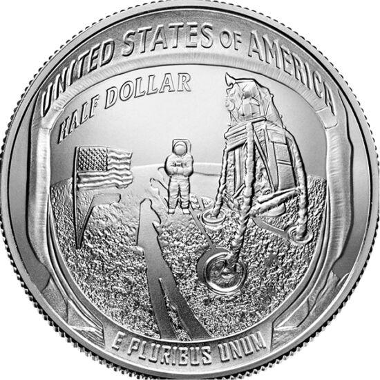 // 1/2 dolar, SUA, 2019 // - La 20 iulie 1969, modulul lunar al misiunii Apollo-11 a aselenizat cu 2 oameni la bord. Pentru sărbătorirea de 50 de ani de la eveniment, SUA a lansat monede având pe avers imaginea iconică a primei urme umane de pe Lună, iar