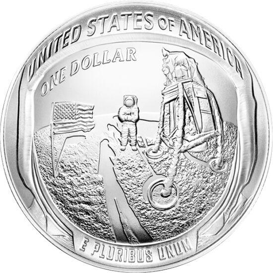 // 1 dolar, argint de 999/1000, SUA, 2019 // - La 20 iulie 1969, modulul lunar al misiunii Apollo-11 a aselenizat cu 2 oameni la bord. Pentru sărbătorirea de 50 de ani de la eveniment, SUA a lansat monede având pe avers imaginea iconică a primei urme uman