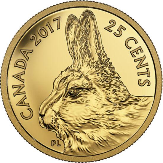 // 25 cenţi, aur de 999,9/1000, Canada, 2017 // - Canada realizează prima monedă din 2017 în cinstea iepurelui polar, animalul câmpiilor de gheaţă nordice. Iepurele polar, în afara urşilor polari, este vânat de oameni din cele mai vechi timpuri, animalele