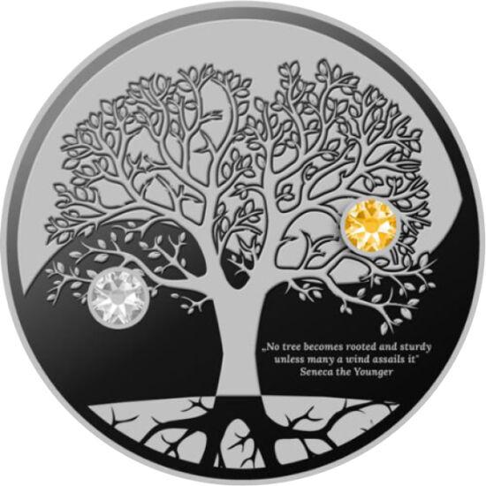 // 500 franci, argint de 999/1000, Camerun, 2019 // - Moneda perfectă a căutătorilor liniştii spirituale. Simboluri şi indicatori pentru drumul vieţii. Rădăcinile arborelui ne leagă de lumea instinctelor, coroana simbolizând universul conştiinţei. Numai î