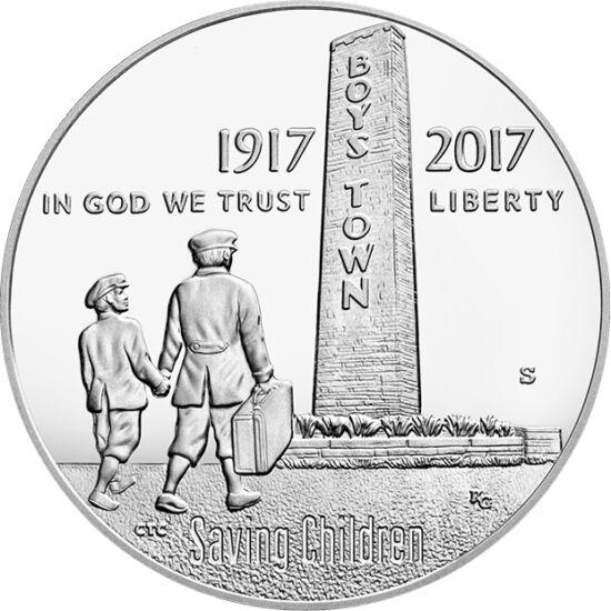 // 1/2 dolar, SUA, 2017 // - Acum 100 de ani, părintele Edward Flanagan a fondat în SUA un orfelinat, Boys Town. Locuitorii acestuia veneau deseori din mediul criminal, care însă au reintrat pe calea cea bună prin educaţia primită. La programe, participă