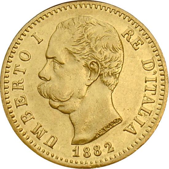 """// 20 lire, aur de 900/1000, Italia, 1879-1897 // - Primul monarh al Italiei Unite, regele Victor Emmanuel, a fost urmat la tron de fiul său, Umberto. În timpul domniei sale, """"bunul"""" Umberto a fost ţinta a trei atentate. Datorită reprezentării grafice tra"""