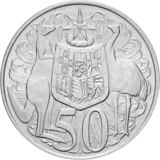 // 50 cenţi, argint de 800/1000, Australia, 1966 // - În anul 1966, în Australia sistemul liră-shilling-penny a fost preschimbat cu sistemul zecimal dolar-cent. Moneda de 50 de cenţi emisă atunci a fost retrasă peste un an, deoarece valoarea conţinutului