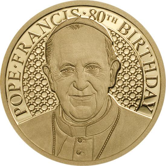 // 5 dolari, aur de 999,9/1000, Insulele Cook, 2016 // - Pe 17 decembrie 2016, a împlinit 80 de ani primul suveran pontif născut pe continentul sud-american. Cu această ocazie, s-a emis această monedă specială de aur, care datorită unei noi tehnologii, ar