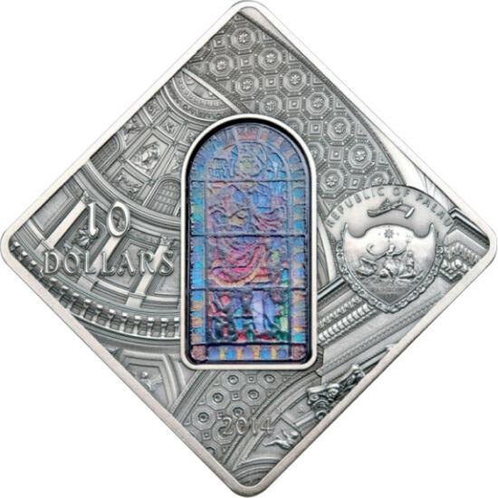 // 10 dolari, argint de 925/1000, Palau, 2014 // - Frumoasa bazilică, cu minunatul vitraliu, apare în mod justificat pe această  monedă de mari dimensiuni. Cupola şi fereastra sunt  extrem de detaliate. Fără discuţie, aceasta este cea mai frumoasă monedă
