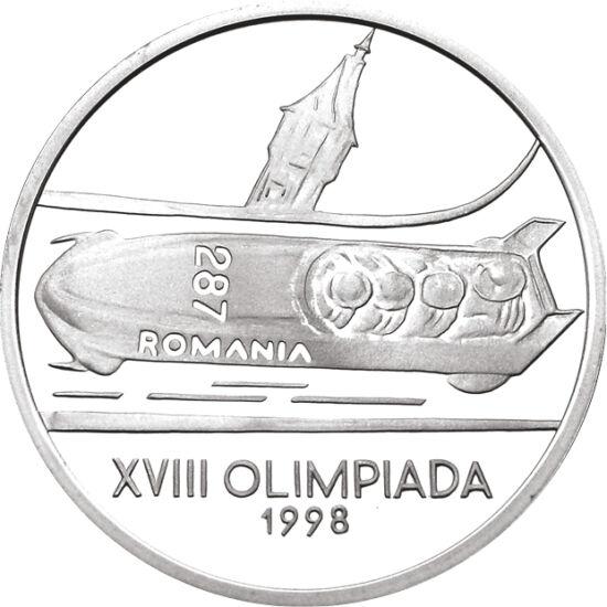 // 100 lei, argint de 925/1000, România, 1998 // - Moneda emisă în anul 1998, marchează cea de a XVIII-a Olimpiadă de Iarnă, ce a avut loc la Nagano, unde a participat şi ţara noastră. Pe această monedă de argint este reprezentată flacăra olimpică, stema