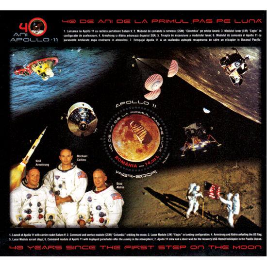// 14,50 lei, România, 2009 // - Coliţa dantelată ilustrează prima misiune în care omul a păşit pe Lună. Misiunea era constituită din Neil Armstrong, M. Collins şi E. Eugene.