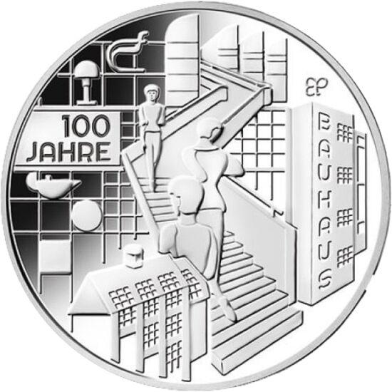 // 20 euro, argint de 925/1000, Germania, 2019 // - Bauhaus, fondată în 1919 de către Walter Gropius în Germania, a fost cea mai importantă mişcare şi instituţie artistică la începutul secolului trecut. Importante clădiri în stil Bauhaus s-au construit şi