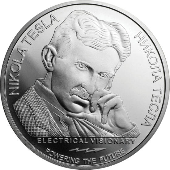 // 100 dinari, argint de 999/1000, Serbia, 2019 // - Genialitatea tehnică a lui Nikola Tesla prin care şi-a întrecut epoca este prezentată pe această colecţie din argint pur. Pe cea de-a doua monedă a seriei apare telecomanda brevetată de către el în 1898