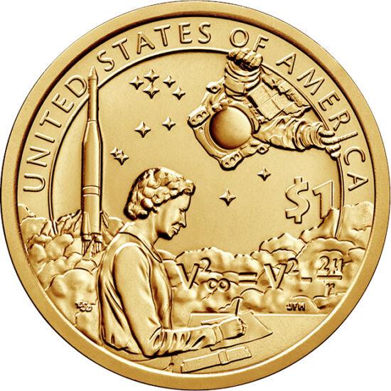 """// 1 dolar, SUA, 2019 // - Anul acesta monetăria SUA şi-a dedicat dolarul memorial cu tema indienilor nativi pentru a omagia cei 50 de ani de la aselenizare. Pe monedă apar matematicienele afroamericane din filmul """"Figuri ascunse"""", care au contribuit la s"""