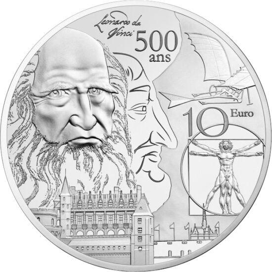 // 10 euro, argint de 900/1000, Franţa, 2019 // - Pe lângă italieni, şi francezii îl consideră pe Leonardo al lor, acesta petrecându-şi ultimii ani în castelul Amboise de pe valea Loarei, fiind oaspetele regelui Francisc I. Timp de 16 ani, adică până la m