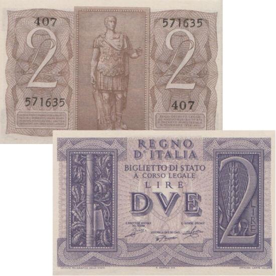 """// 1, 2 lire, Italia, 1939 // - Bancnote din Italia din anul 1939, în prag de război, evocând gloria Imperiului Roman. Pe revers apar împăraţii August şi Cezar, iar pe avers """"fasces"""", legătura de nuiele în jurul unui topor, simbolul magistratului roman, r"""