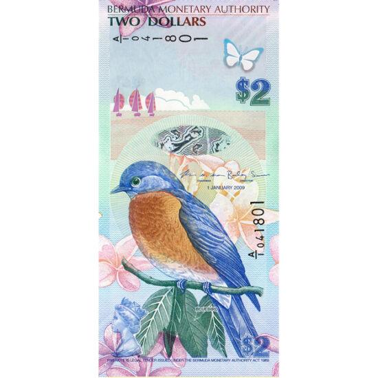 // 2 dolari, Bermuda, 2009 // - Bermuda este unul dintre cele mai misterioase locuri de pe glob, misterul arhipelagului fiind sporit de nave şi avioane dispărute inexplicabil. Pe bancnotă apare pasărea albastră a fericirii, turnurile muzeului nautic şi st