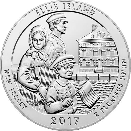 """// 25 cenţi, argint de 999/1000, SUA, 2017 // - Pentru imigranţii în America de la răscrucea secolelor XIX şi XX, primul pas pe """"tărâmul făgăduinţei"""" era cel făcut pe Insula Ellis din New York, până la închiderea definitivă a oficiului de emigrare din anu"""