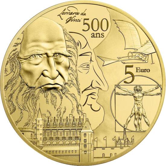 // 5 euro, aur de 999/1000, Franţa, 2019 // - Deşi a fost unul dintre artiştii semnificativi ai renaşterii, Leonardo a avut contribuţii esenţiale atât în domeniul ştiinţei, cât şi în cel al ingineriei. Pe aceste monede franceze apar studiileanatomice, pr