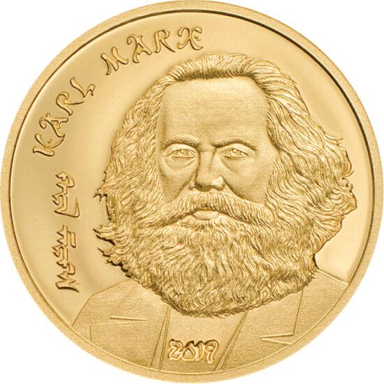 // 1000 togrog, aur de 999,9/1000, Mongolia, 2019 // - Marx a fost un gânditor cu influenţe majore, dar foarte controversat. A considerat istoria ca şirul bătăliilor luptei de clasă, fiind un adept al societăţii fără clase. Ambele monede sunt de calitate