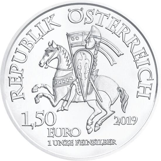 // 1,5 euro, argint de 999/1000, Austria, 2019 // - În memoria întemeierii Monetăriei Austriece, a apărut o nouă monedă de 1 uncie din argint pur, însă cu revers neschimbat. Pe avers apare oraşul Wiener Neustadt, ale cărui ziduri au fost construite parţia