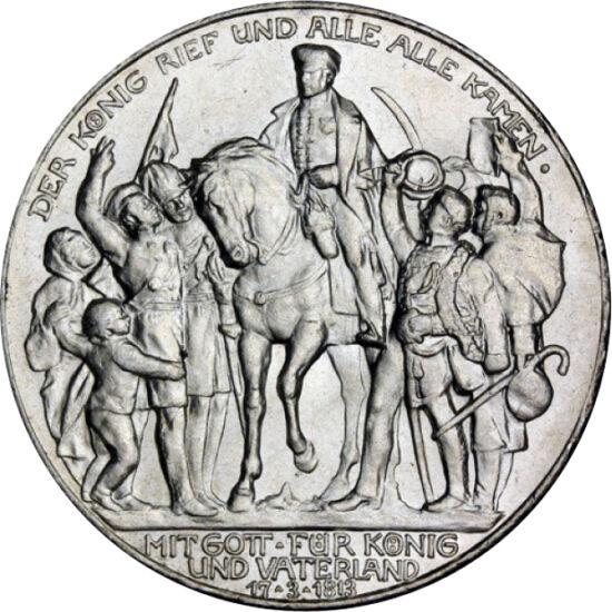 // 3 mărci, argint de 900/1000, Imperiul German, 1913 // - În octombrie 1813, la Leipzig a avut loc bătălia care a înfrânt dominaţia europeană a lui Napoleon. La împlinirea a 100 de ani de la eveniment, a apărut moneda care, la rândul ei, are peste 100 de