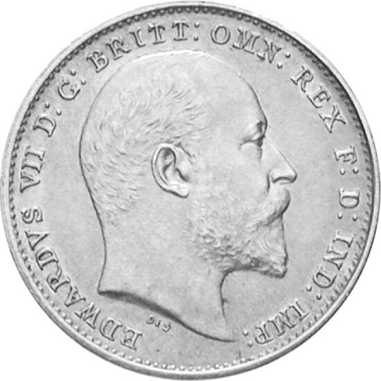 // 3 pence, argint de 925/1000, Marea Britanie, 1902-1910 // - Înainte de 1971, lira sterlină a fost împărţită după sistemul duzinal, constând din 20 de şilingi, fiecare şiling din 12 pence, astfel lira fiind divizată în 2, 4, 6, dar şi în 5, 10, 12, 20 ş