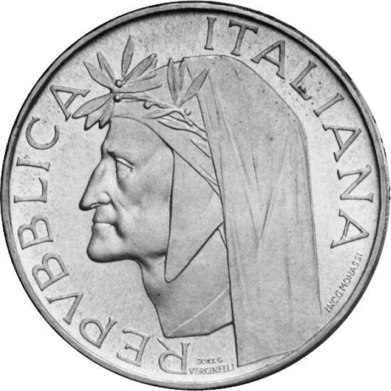 // 500 lire, argint de 835/1000, Italia, 1965 // - Moneda italiană din argint a fost dedicată aniversării a 700 de ani de la naşterea lui Dante Alighieri, una dintre cele mai mari figuri nu numai ale literaturii italiene, ci şi ale literaturii universale.