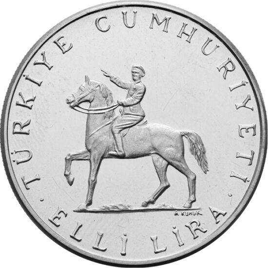 // 50 lire, argint de 830/1000, Turcia, 1972 // - Kemal Atatürk este părintele Turciei moderne. După primul război mondial pierdut, a organizat o luptă pentru independenţă. Victoria finală a acesteia a fost reocuparea Ismirului la 9 septembrie 1922. Aceas