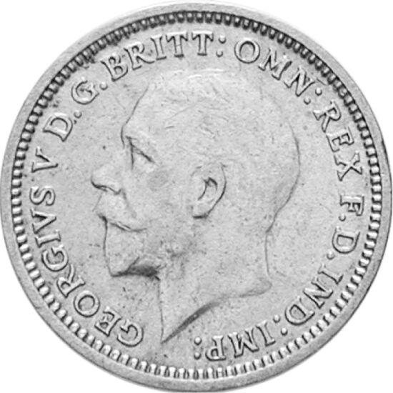 // 3 pence, argint de 500/1000, Marea Britanie, 1927-1936 // - Înainte de 1971, lira sterlină a fost împărţită după sistemul duzinal, constând din 20 de şilingi, fiecare şiling din 12 pence, astfel lira fiind divizată în 2, 4, 6, dar şi în 5, 10, 12, 20 ş