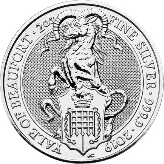 // 5 lire, argint de 999,9/1000, Marea Britanie, 2019 // - Yale a fost cea de a şasea bestie a reginei, protectorul acesteia, dar şi al regatului. La început, a fost stema dinastiei Beaufort, Lady Margaret fiind mama lui Henric al VII-lea. Pe moneda de ar