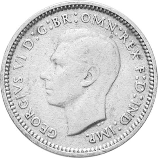 // 3 pence, argint de 500/1000, Australia, 1938-1952 // - Înainte de 1971, lira sterlină a fost împărţită după sistemul duzinal, constând din 20 de şilingi, fiecare şiling din 12 pence, astfel lira fiind divizată în 2, 4, 6, dar şi în 5, 10, 12, 20 şi 24