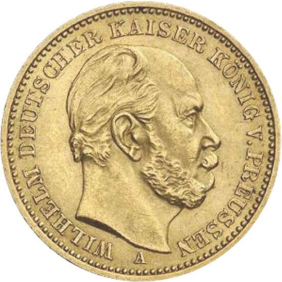 // 20 mărci, aur de 900/1000, Imperiul German, 1871-1888 // - Omul contradicţiilor – asta spun cronicile despre împăratul german Wilhelm I, care întruchipa atât omul rafinat, cu sensibilităţi artistice, cât şi personalitatea dictatorială, tipică unui cond