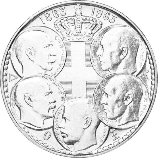 // 30 drahme, argint de 835/1000, Grecia, 1963 // - Dinastia Glücksburg din Danemarca şi-a început ascensiunea în 1863, prinţul devenind regele Cristian al IX-lea al Danemarcei, iar fiul lui, regele Greciei, George I. Moneda omagiază o sută de ani pe tron