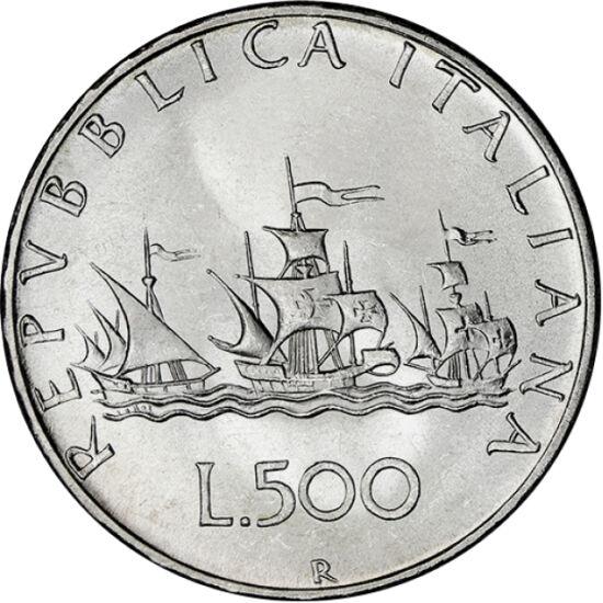 // 500 lire, argint de 835/1000, Italia, 1958-2001 // - Descoperirea Americii a condus la lărgirea perspectivei asupra lumii şi la redesenarea hărţilor. Descoperirea lui Columb a adus Europei bogăţii şi colonii noi. Ca şi marele explorator, cele trei nave