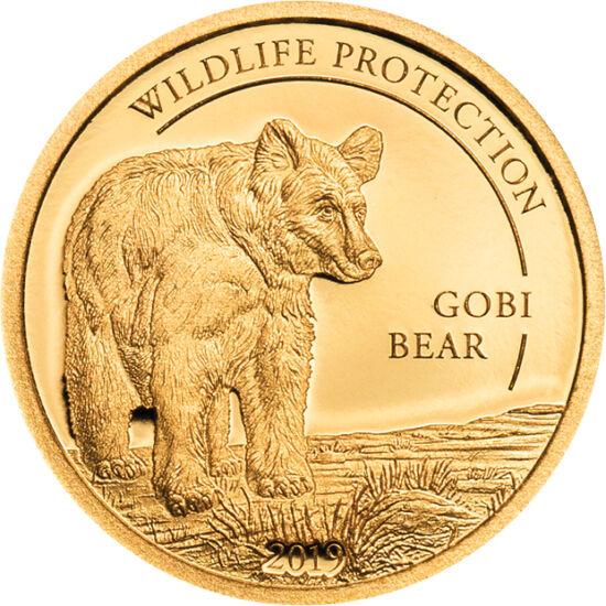 // 1000 togrog, aur de 999,9/1000, Mongolia, 2019 // - Ursul Mazaalai din deşertul Gobi este în pericol de extincţie, fiind cunoscute doar 22 de exemplare în libertate. Chiar dacă se poate reproduce şi cu speciile înrudite, tot va dispărea. Moneda de aur
