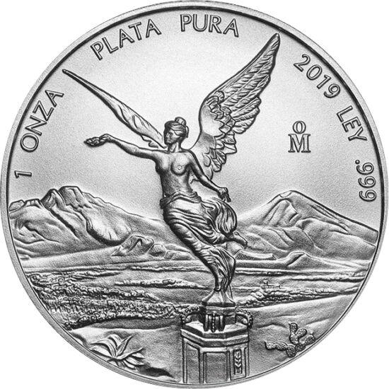 // 1 libertad, argint de 999/1000, Mexic, 2019 // - Mexicul a emis moneda sa oficială, denumită Libertad, din argint pur, fără valoare nominală. Denumirea ei provine de la Îngerul Independenţei, reprezentat şi pe aversul monedei, simbolizând ţara din Amer
