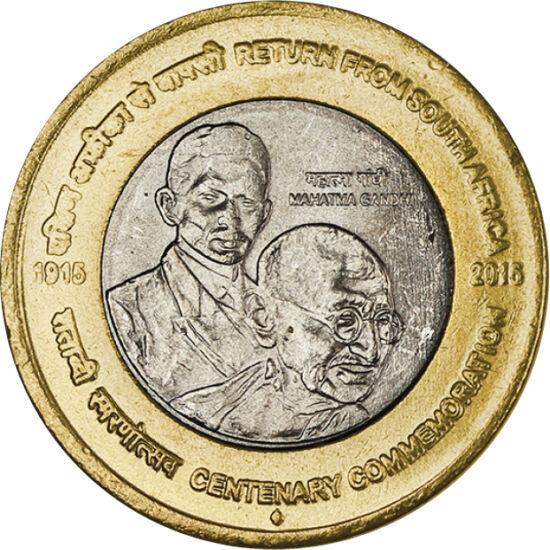 // 10 rupii, India, 2015 // - Ca tânăr avocat, Mahatma Gandhi s-a întors în ţara sa în anul 1915, după care a devenit conducătorul politic şi spiritual al Indiei. Această monedă - emisă la aniversarea de 100 de ani de la întoarcearea în ţara sa natală - r