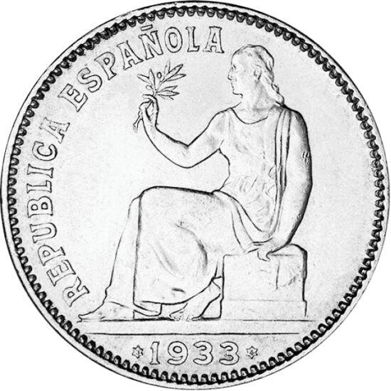 """// 1 peseta, argint de 835/1000, Spania, 1933 // - În 1933, Franco, cu ajutorul forţelor coloniale marocane, a înnăbuşit în sânge revolta minerilor, fiind """"premiat"""" cu titlul de mareşal. Această monedă, cu Spania care apare sub forma alegorică a unei feme"""